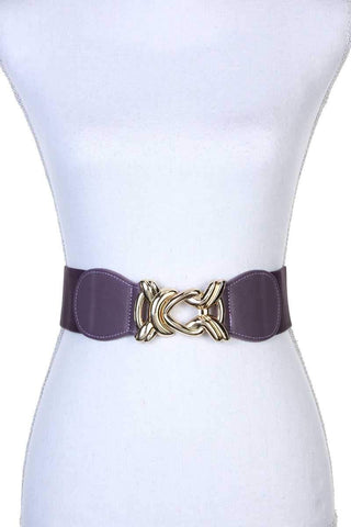 Yushikas Boutique Knot Metal Buckle Stretch Belt