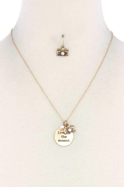 Yushikas Boutique Live In The Moment Pendant Necklace And Earring Set