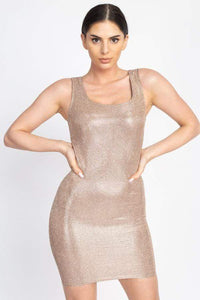 Yushikas Boutique Metallic Glitter Mini Dress