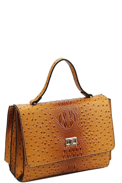 Yushikas Boutique Modern Fashion Croco Pattern Satchel With Long Strap