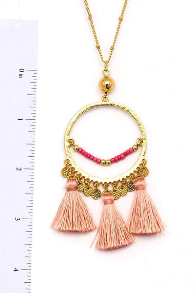 Yushikas Boutique Modern Fashion Cute Tassel Pendant Necklace
