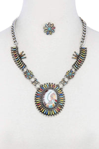 Yushikas Boutique Multi Color Indigenous Pendant Necklace