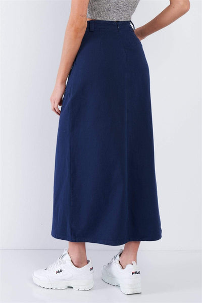 Yushikas Boutique Navy Blue Denim Midi Center Slit High Waist Casual Skirt