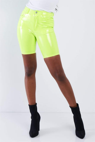 Yushikas Boutique Neon Lime Green Faux Leather Biker Shorts