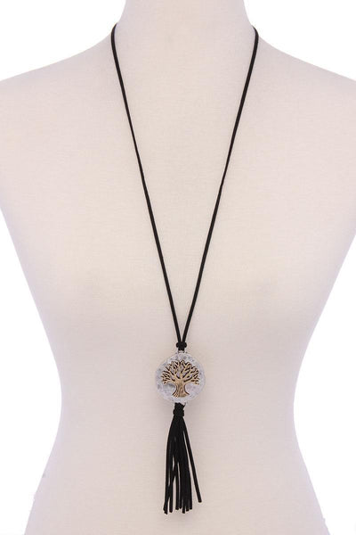 Yushikas Boutique Oak Tree Suede Tassel Pendant Necklace