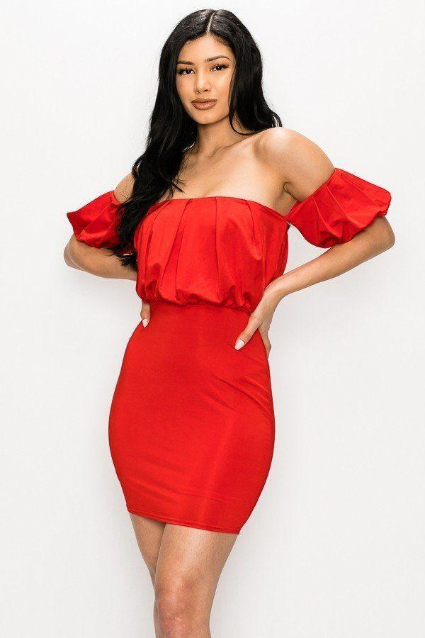 Yushikas Boutique Off-the-shoulder Puff Sleeve Mini Dress