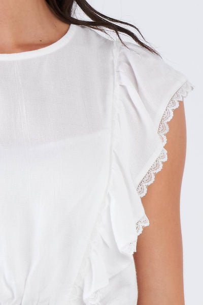 Yushikas Boutique Off-white Semi-sheer Lace Frill Trim Cinched Elastic Waist Crop Top