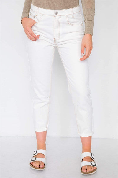 Yushikas Boutique Off White With Brown Stitching Jeans