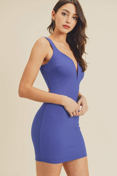Yushikas Boutique Open Back Plunging V-neck Bodycon Dress