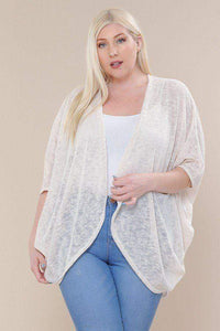 Yushikas Boutique Open Front Cardigan Back V-neck Kimono Sleeves