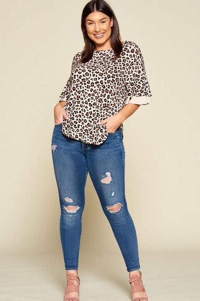 Yushikas Boutique Plus Size Animal Print Swing Tunic Top With Contrast Color Block Bell Sleeves