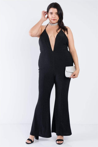 Yushikas Boutique Plus Size Black Sequin Criss Cross Open Back Jumpsuit
