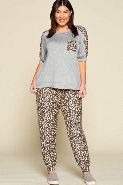 Yushikas Boutique Plus Size Cute Animal Print Pocket French Terry Casual Top