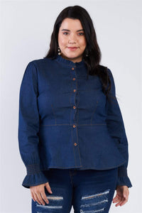 Yushikas Boutique Plus Size Denim Blue Vintage Front Button Sleeve Jean Peplum Top