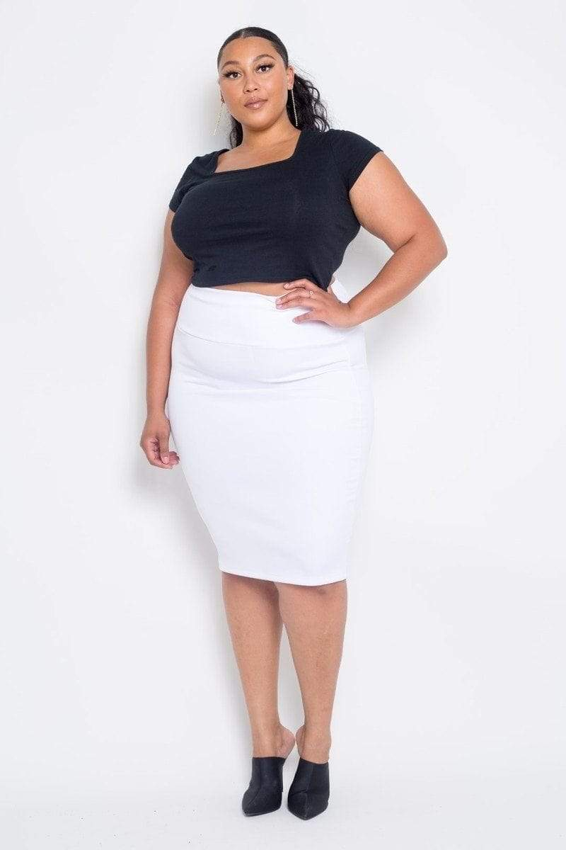 Yushikas Boutique Plus Size Everyday Basic High Waist Pencil Midi Skirt