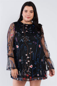 Yushikas Boutique Plus Size Floral Mix Sheer Mock Lace Neck Mini Dress