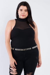 Yushikas Boutique Plus Size Mock Turtleneck Bodysuit