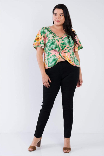 Yushikas Boutique Plus Size Multi Tropical Floral Front Roll Butterfly Sleeve Top
