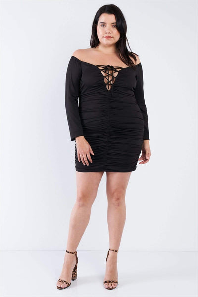Yushikas Boutique Plus Size Off The Shoulder Lace Up Ruched Mini Dress