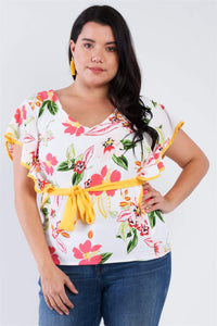 Yushikas Boutique Plus Size Tropical Floral Print Mock Sleeve Chiffon Semi-sheer Top