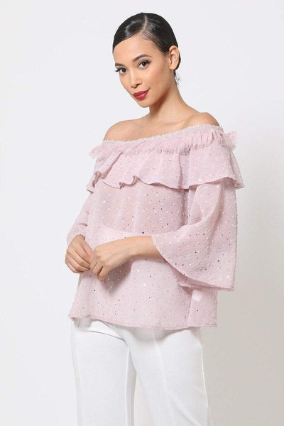 Yushikas Boutique Polka Dot Sheer Off Shoulder Top