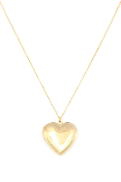 Yushikas Boutique Puffy Metal Heart Locket Necklace