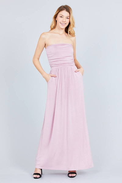 Yushikas Boutique Rayon Modal Spandex Tube Top Maxi Dress