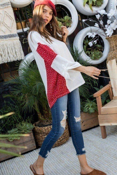 Yushikas Boutique Round Neck 3/4 Rolled Up Sleeve Contrast Woven Heart Print Knit Top