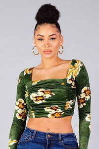Yushikas Boutique Ruched Velvet Floral Back Tie Crop Top