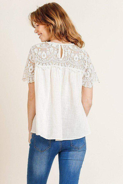 Yushikas Boutique Sheer Floral Short Sleeve Lace Yoke Keyhole Top