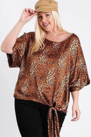 Yushikas Boutique Short Sleeve Side Knot Hemline Leopard Print Woven Top