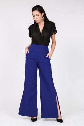 Yushikas Boutique Side Slit Detail Wide Leg Pants