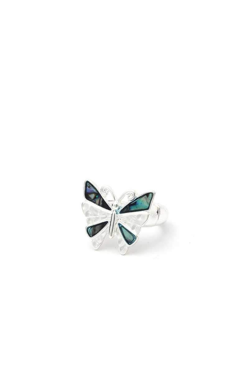 Yushikas Boutique Silver Abalone Butterfly Stretch Ring
