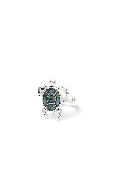 Yushikas Boutique Silver Abalone Sea Turtle Stretch Ring