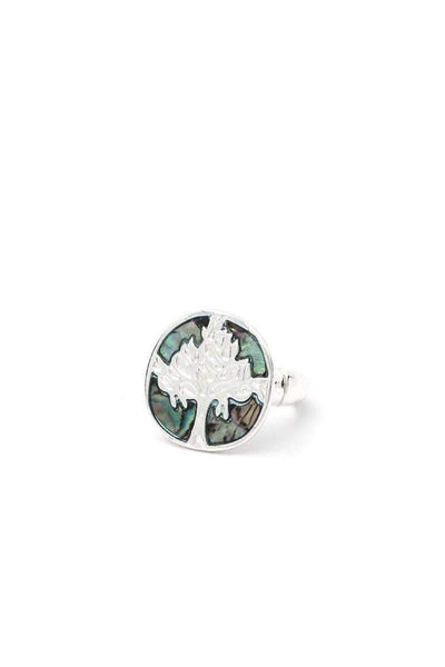 Yushikas Boutique Silver Abalone Tree Stretch Ring