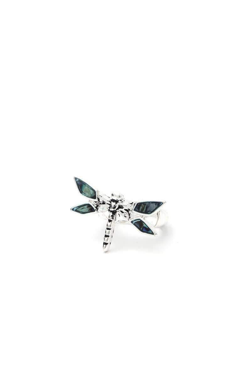 Yushikas Boutique Silver Dragonfly Stretch Ring