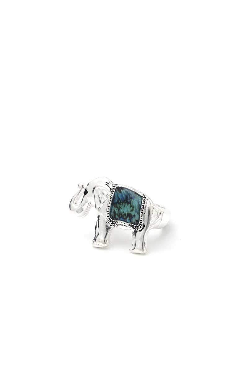 Yushikas Boutique Silver Elephant Stretch Ring