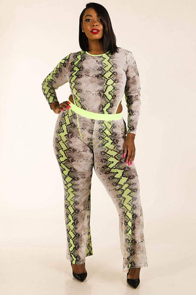 Yushikas Boutique Snake Printed Mesh Bodysuit & Leggings Set