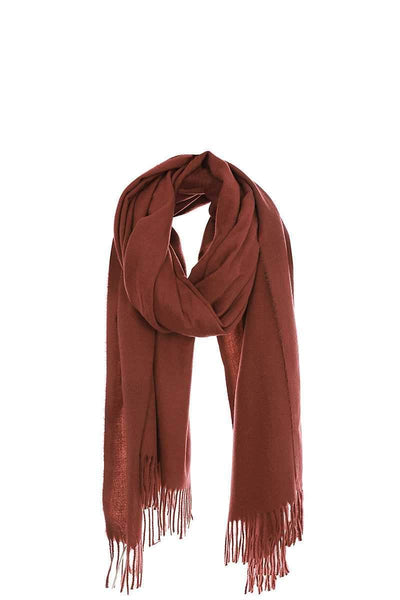 Yushikas Boutique Solid Color Modern Fringe Scarf
