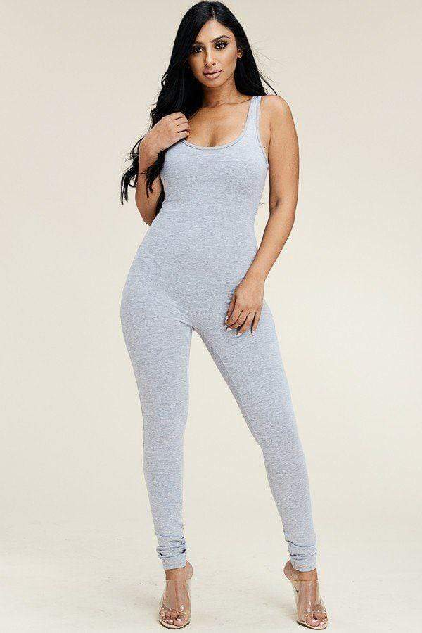 Yushikas Boutique Solid Cotton Basic Jumpsuit With U Back Line