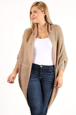 Yushikas Boutique Solid Loose Knit, Open Cocoon Cardigan