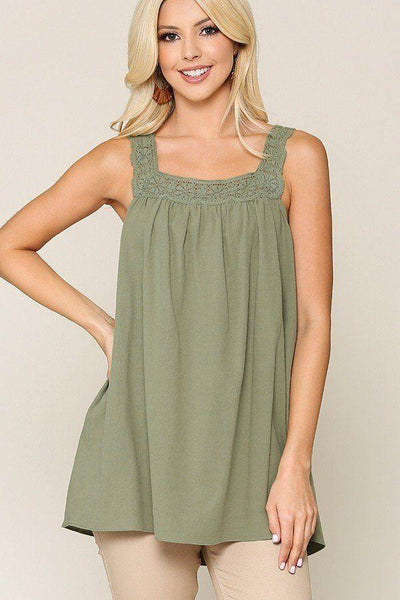 Yushikas Boutique Square Neck Crochet Trim Sleeveless Top