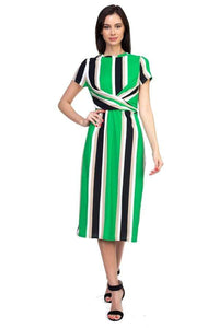 Yushikas Boutique Stripe Twist Front Dress