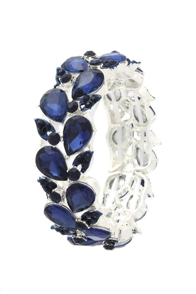 Yushikas Boutique Teardrop Shape Rhinestone Stretch Bracelet