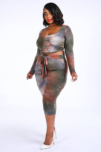 Yushikas Boutique Tie Dye Top & Midi Skirt Set