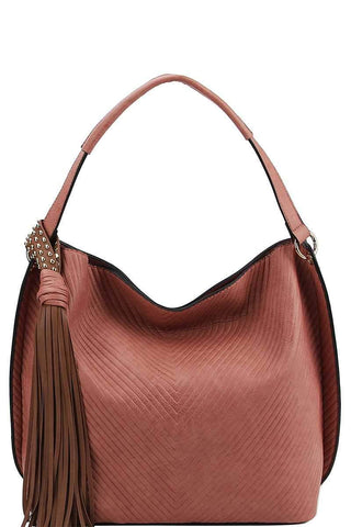 Yushikas Boutique Trendy Chic Tassel Satchel With Long Strap