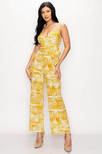 Yushikas Boutique Tropical Leaf Print Tie Waist Jumpsuit