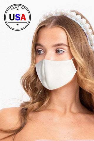 Yushikas Boutique White Made In Usa 3d Reusable Water Resistant Face Mask