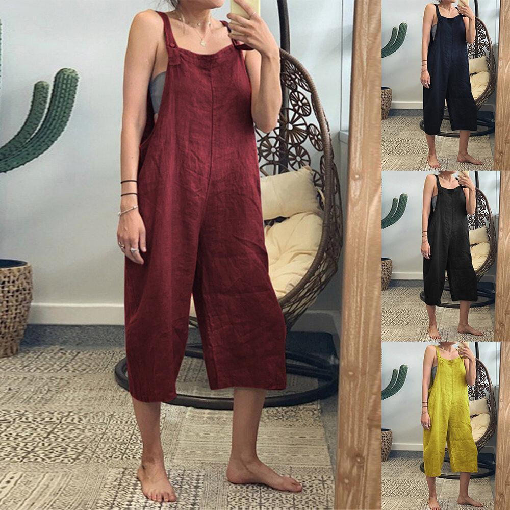Pocket  Cotton Strappy Loose Jumpsuit