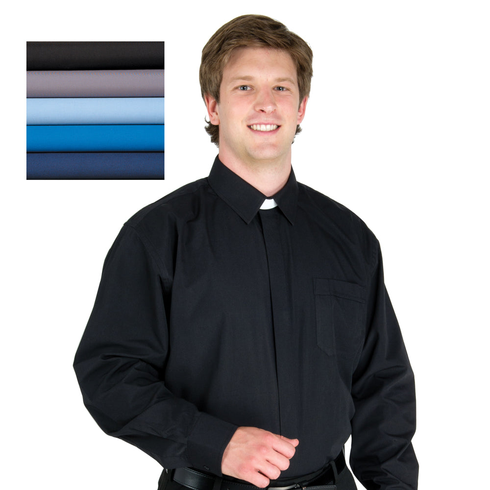 Long Sleeved Collar Attached Clergy Shirt